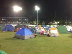 Tents in the outfield